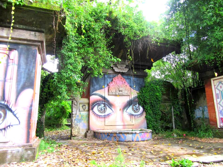 reclaimed ruins of a theme park in Bali