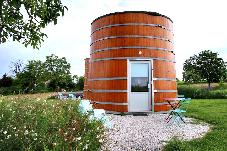 A house made from wooden wine vats