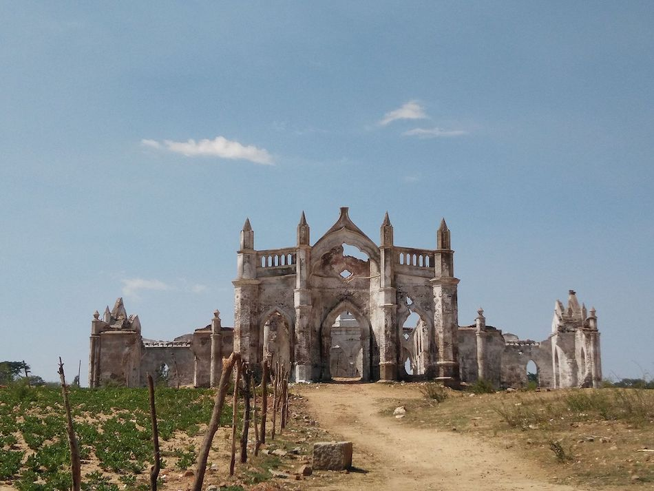 view of the ruins of a church in India
