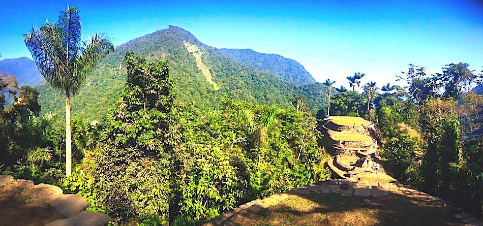 Ruins of Ciudad Perdida in Columbia covered in trees and jungle