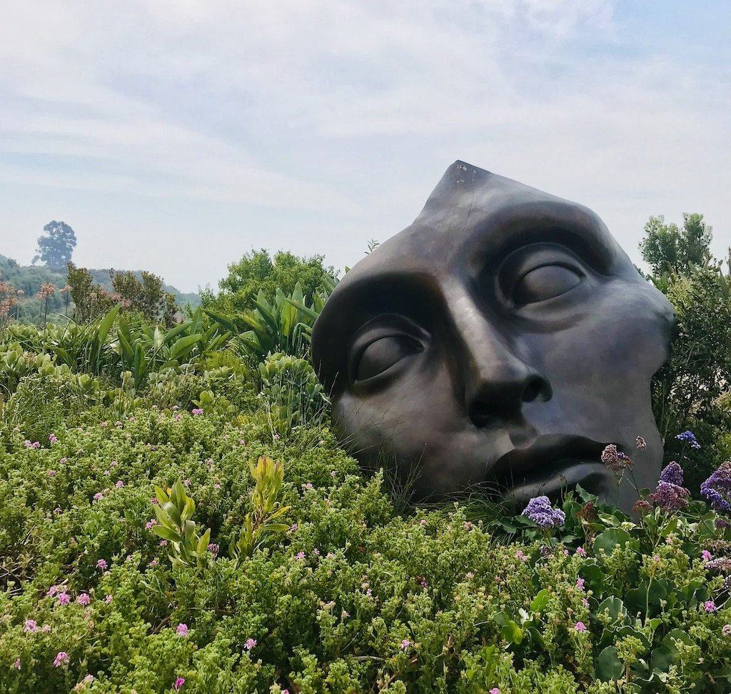 Sculpture of a mans face at a vineyard in the Cape Winelands