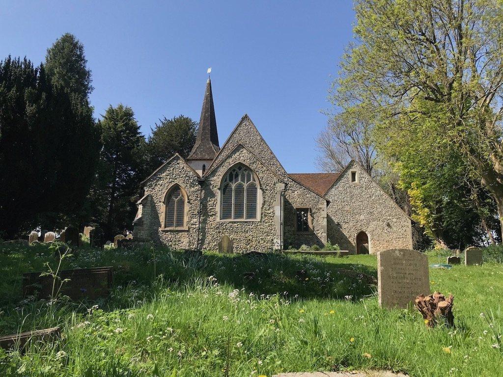 Rear view of Chaldon Church