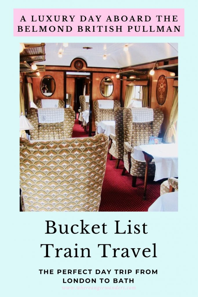 Pinterest Graphic of the interior of the Belmond British pullman