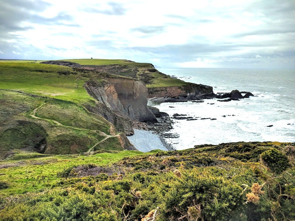 View of the cliff coastal path in North Devon