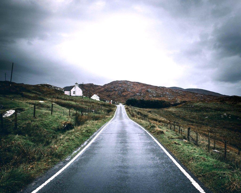 Main Road leading into Barra in Scotland