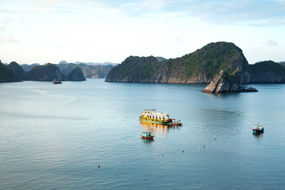 Boats on the water of Cat Ba National Park