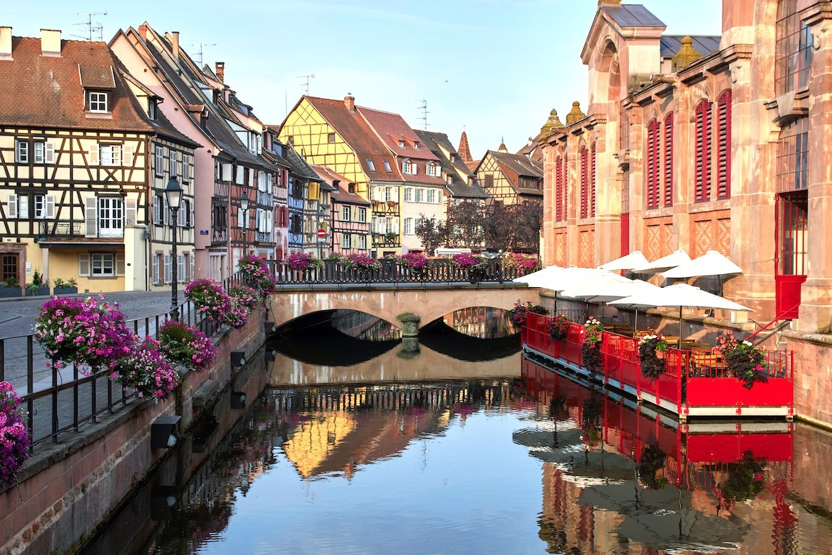 Canals and Coloured Buildings in the Alsace Region