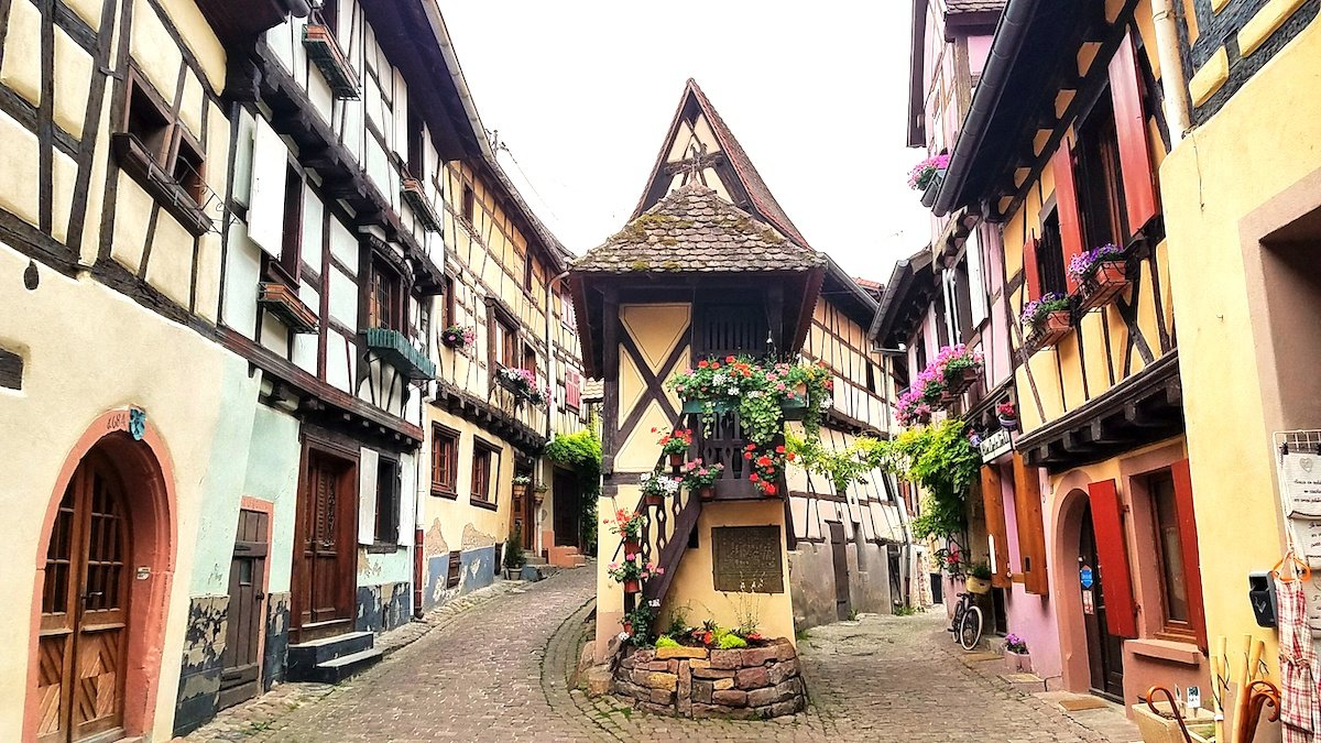 Colourful timbered buildings in Eguisheim