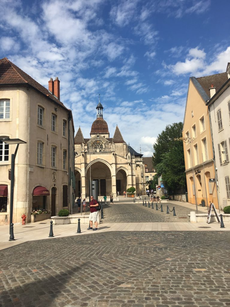 A view along the street to the cathedral Notre Dame