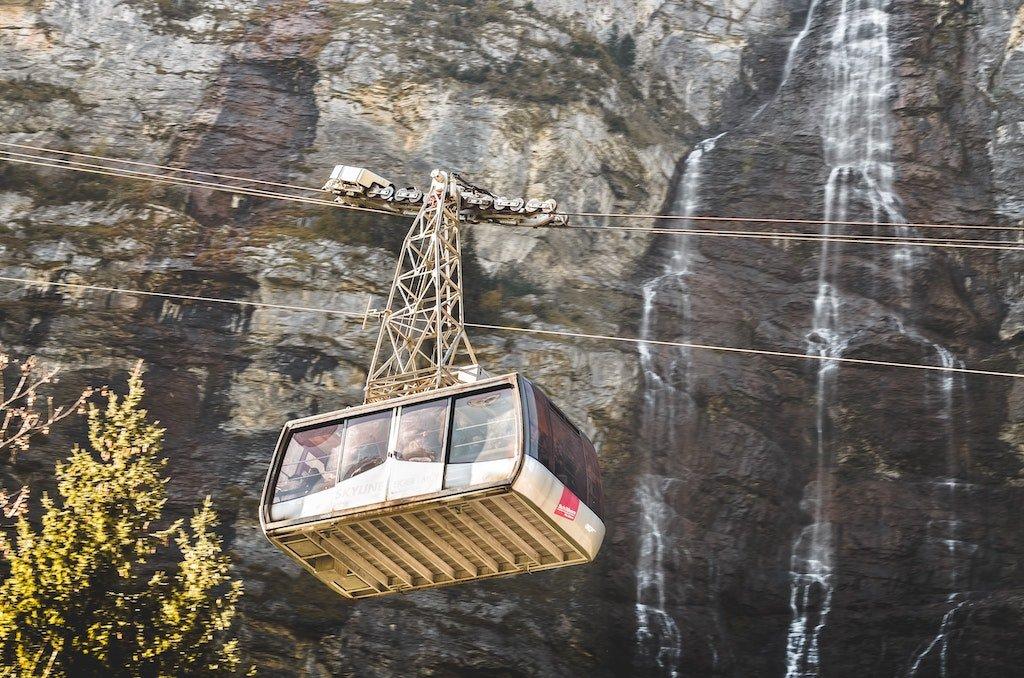 Cable car descending the mountain