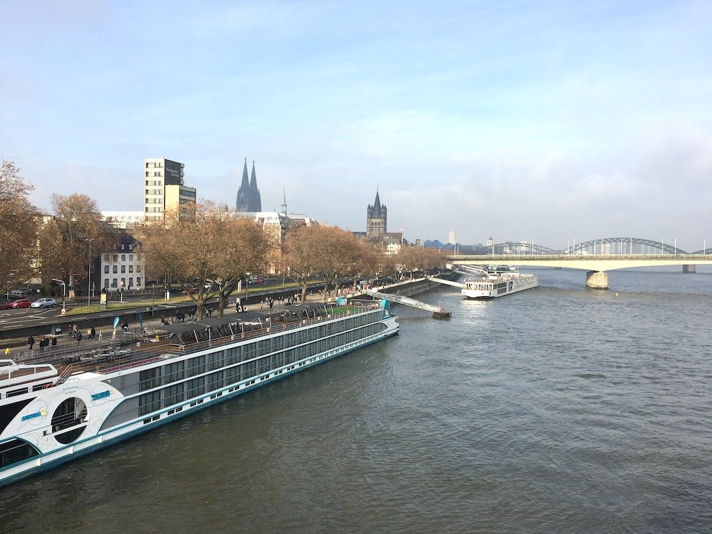 Boats travelling along the Rhine River