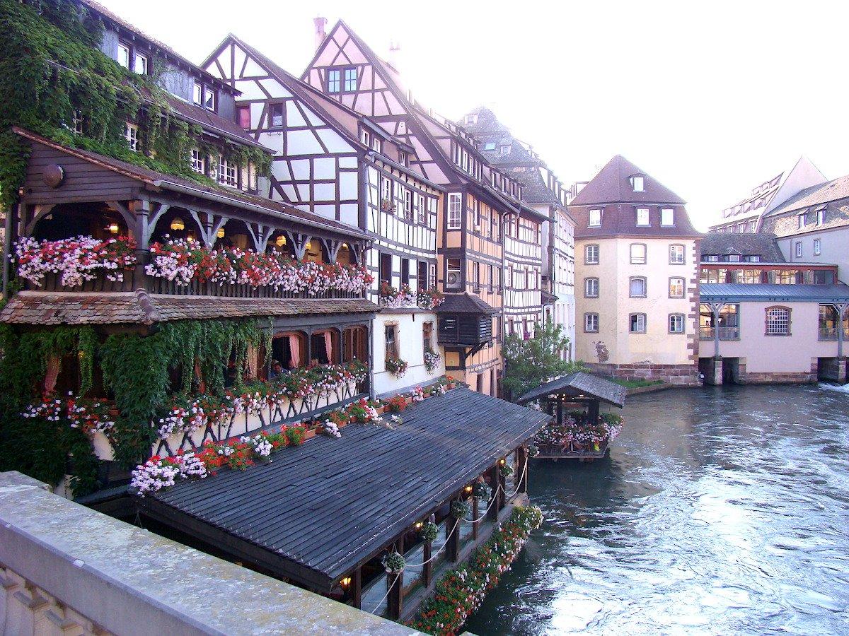 Flower-ladened buildings in Strasbourg