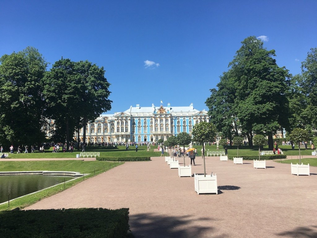 Blue facade of the Catherine Palace