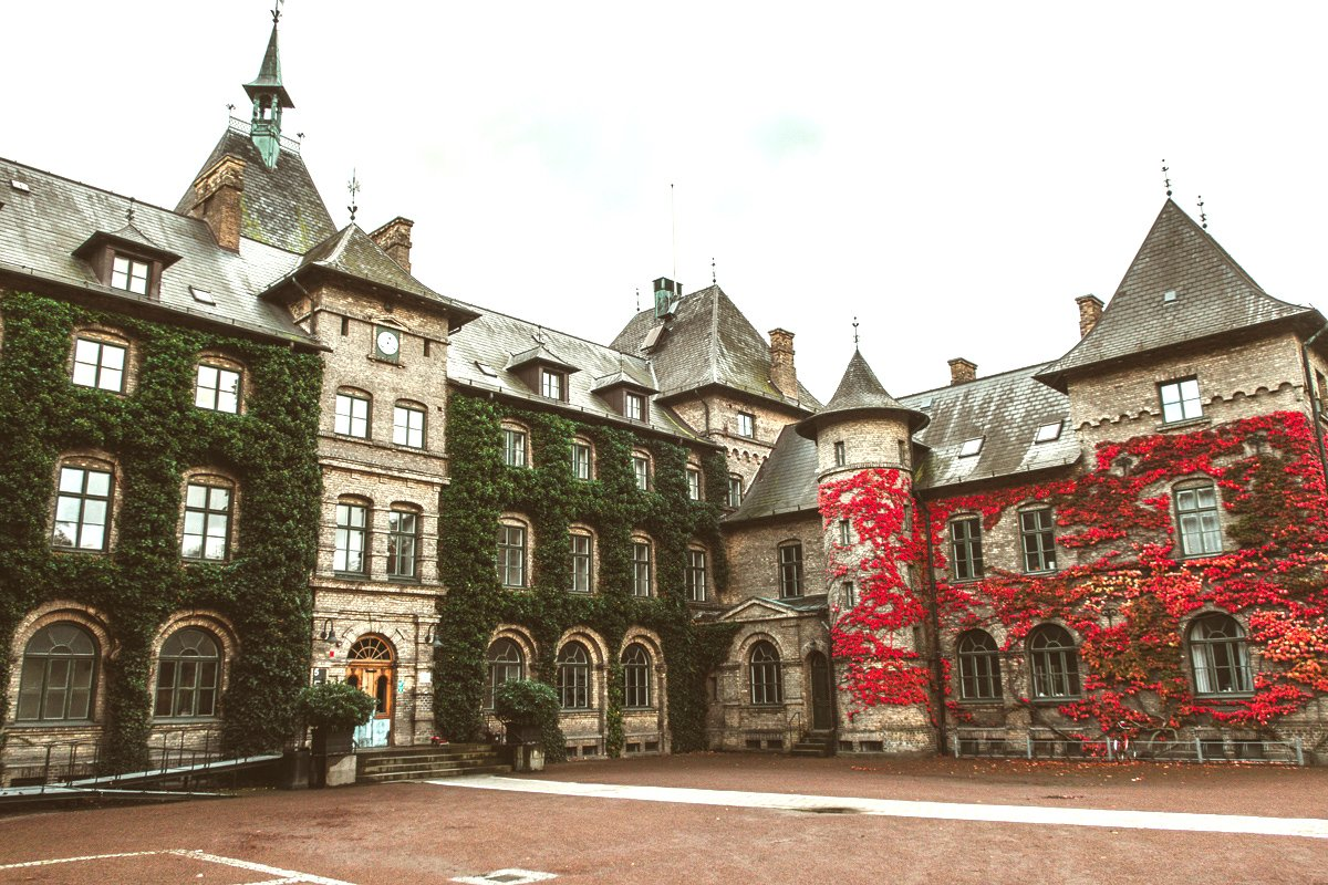 The fairytale Red ivy covered Alnarp Castle in Sweden