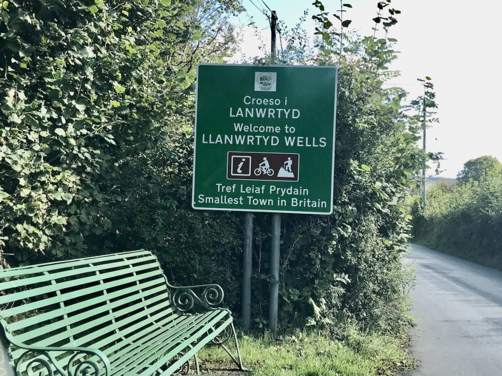 Green sign for Llanwrtyd Wells