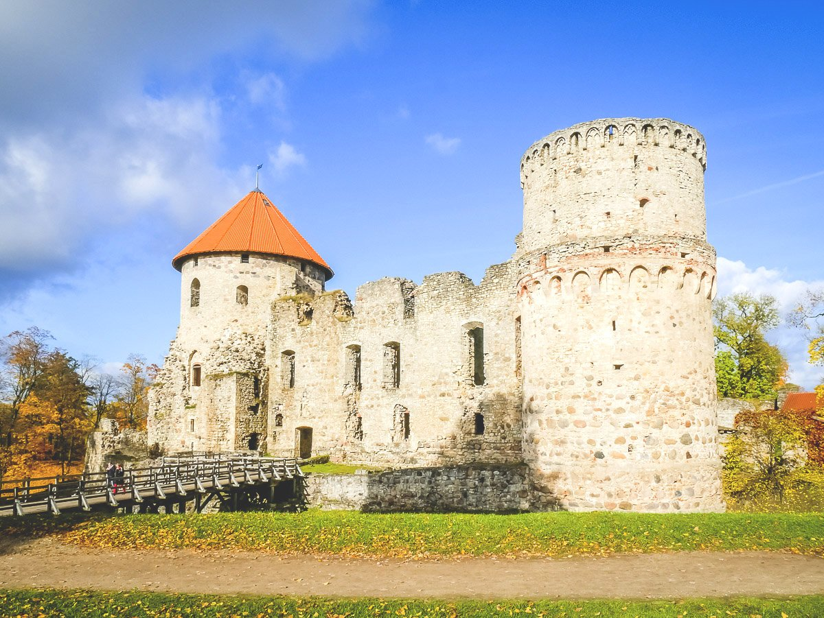 Cesis Castle with fairytale turrets