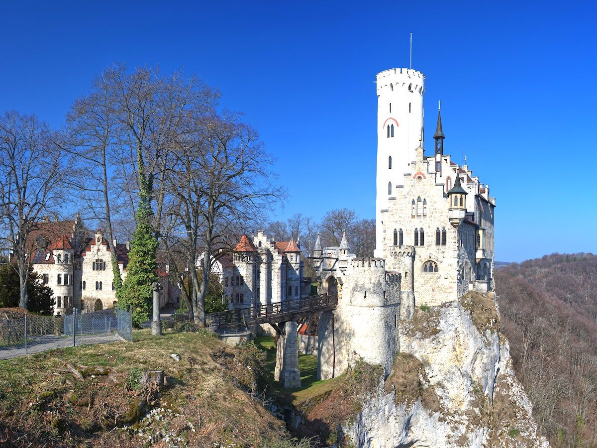 White fairytale tower and castle of Lichtenstein