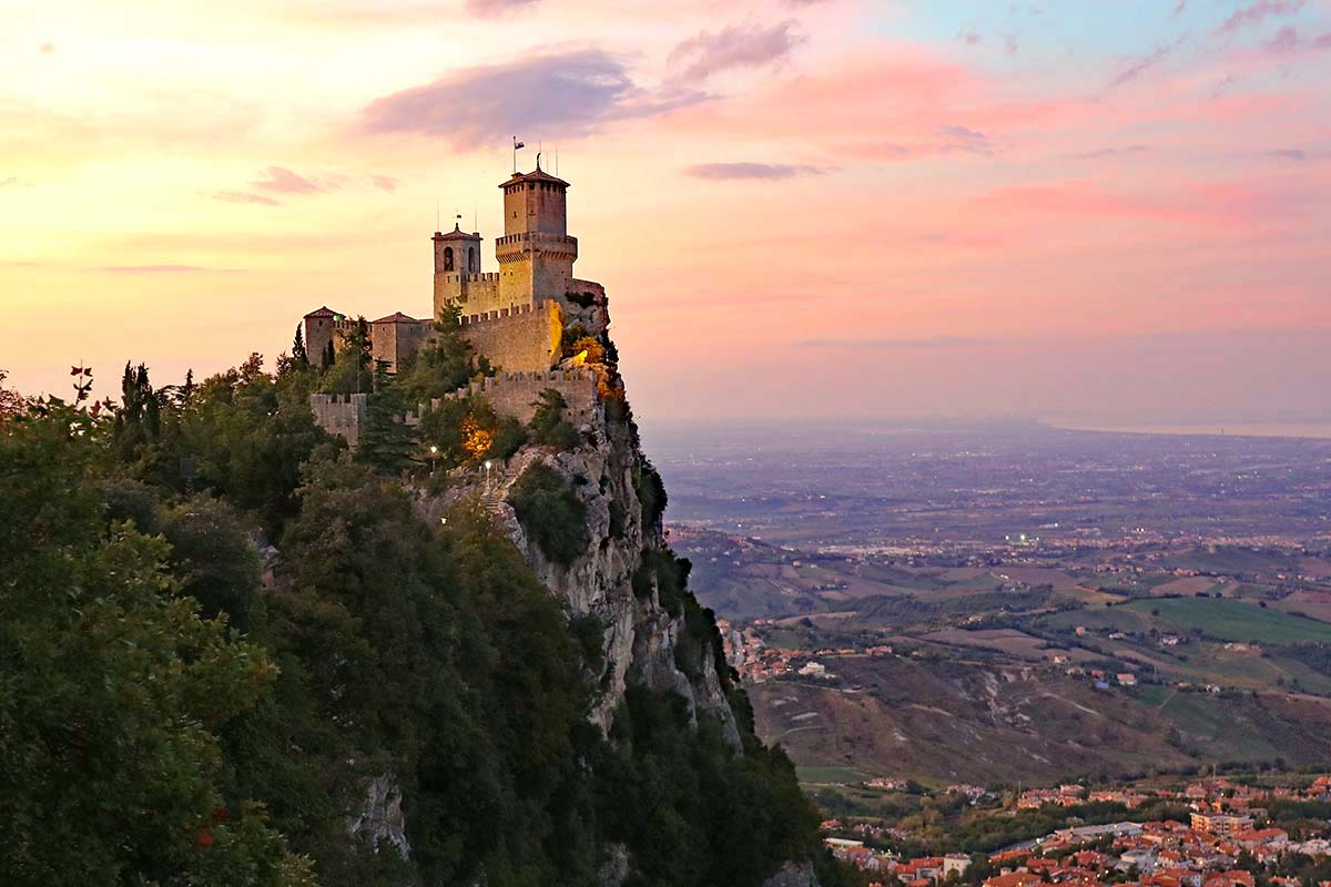 San Marino Towers at sunset