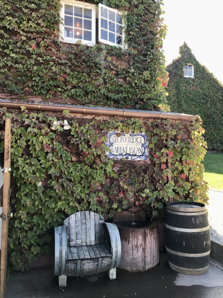 Stonyridge vineyard sign covered in ivy