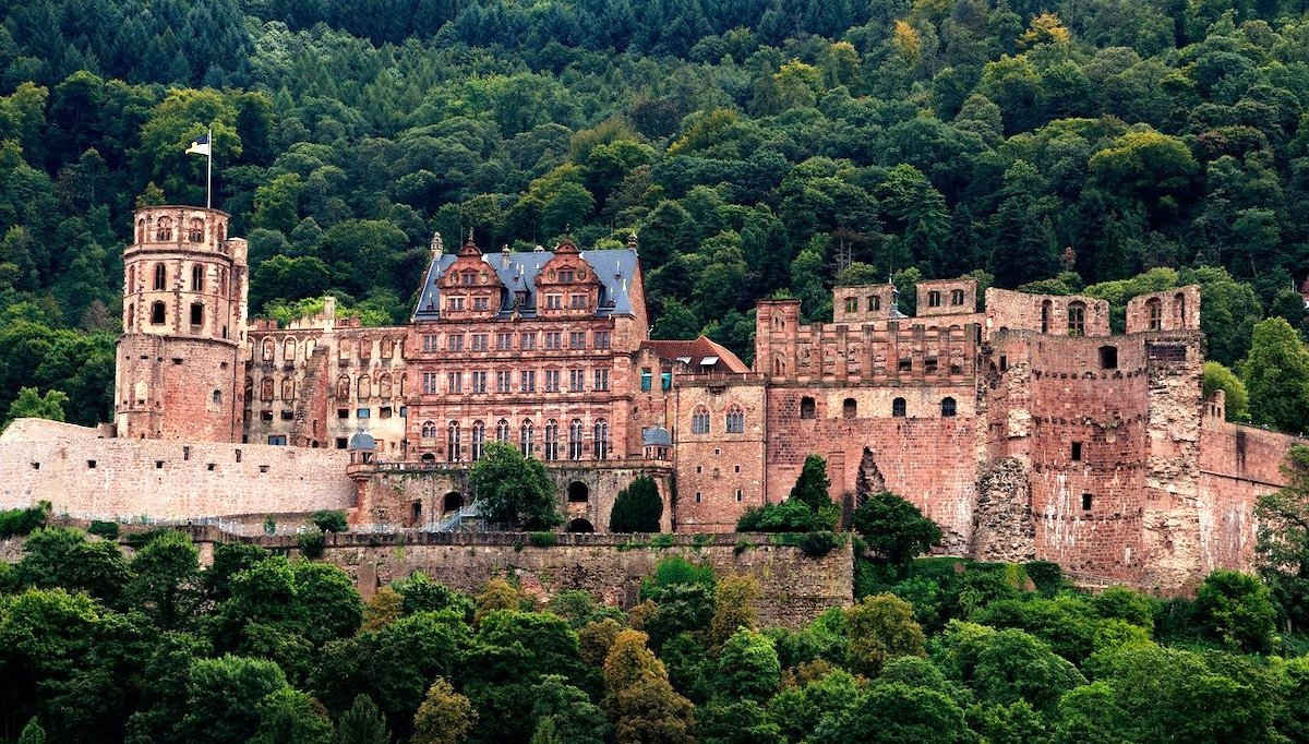 red brick facade of heidelberg castle