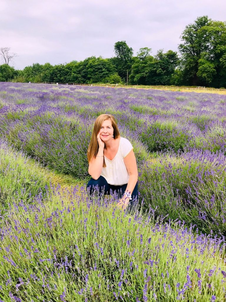 Angie sitting among the lavender