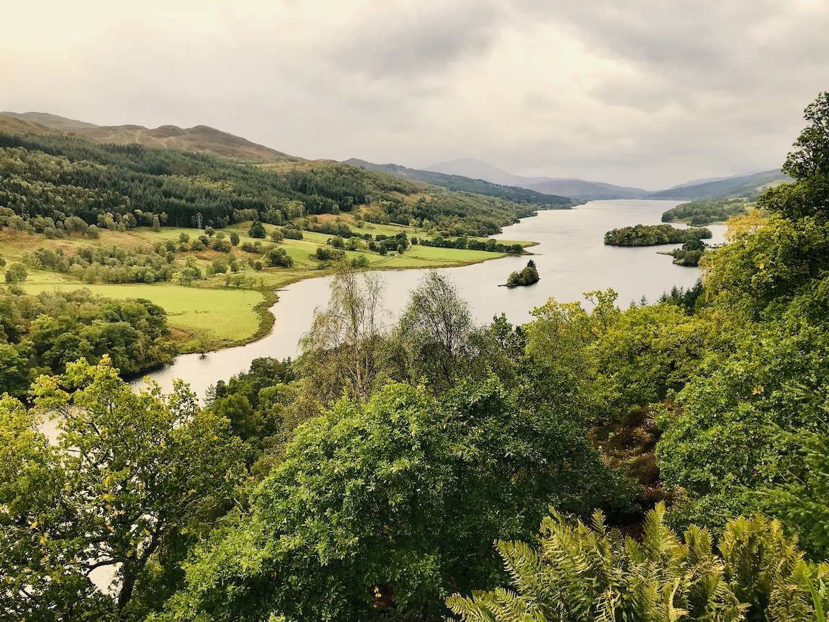Queens view of river and mountains in Pitlochry