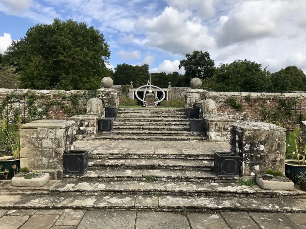 steps up to the rose gardens