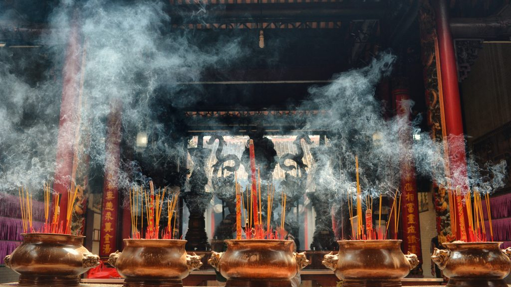 Incense burning in Hanoi Temple