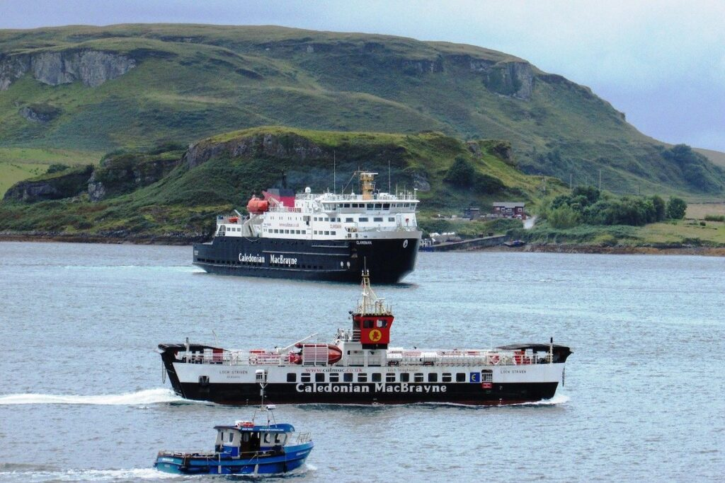 Oban ferries in Scotland. a stop on a British road trip
