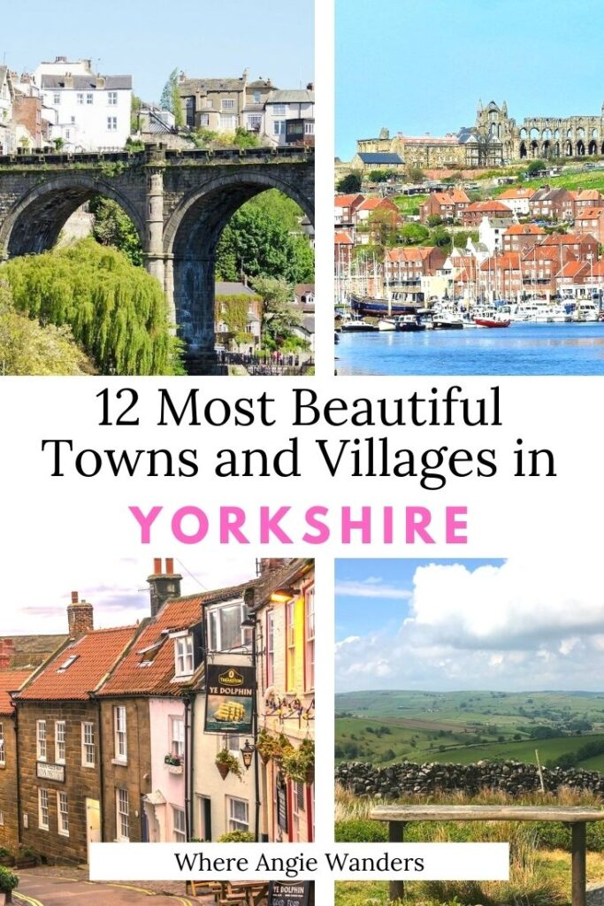 Pinterest Graphic showing four towns in Yorkshire
