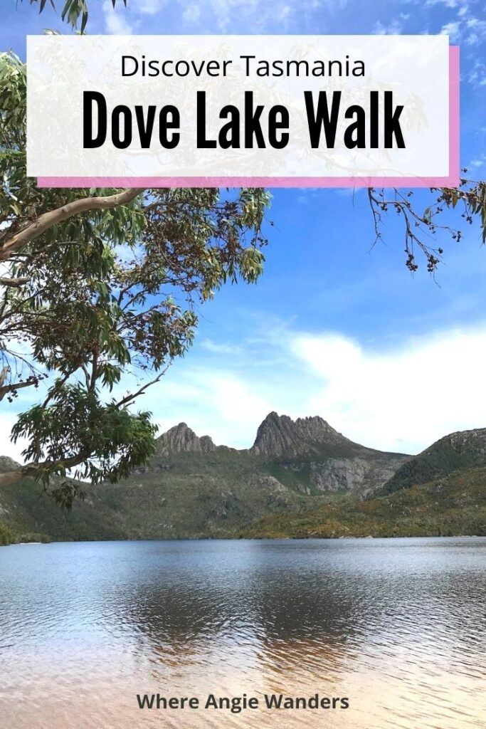 Pinterest Graphic of Dove Lake with Cradle Mountain in the background