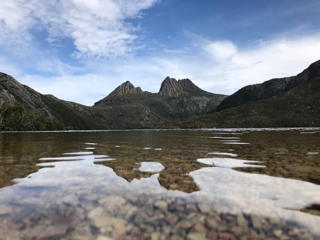 A shot of Dove Lake at ground level