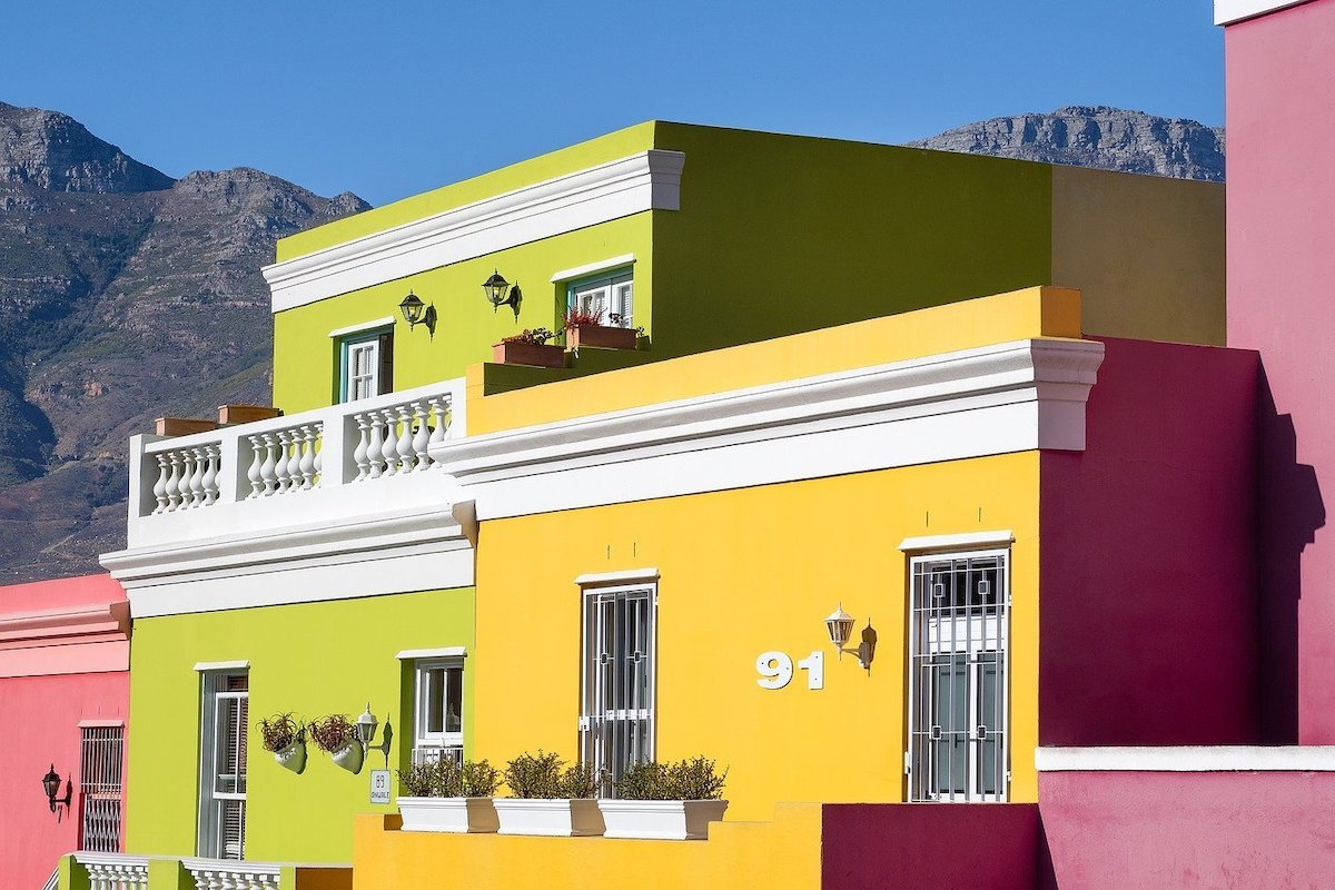 Brightly painted houses in Bo-Kaap, Cape Town