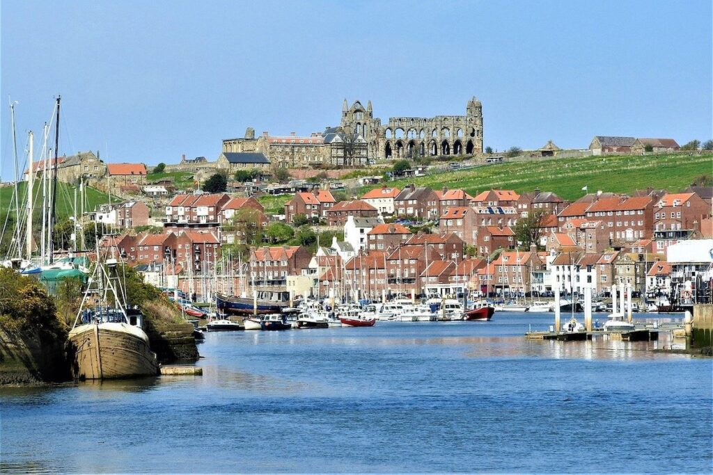 A view across Whitby Abbey showing boats, red-bricked houses and then on top of the hill the ruins of Whitby Abbey.