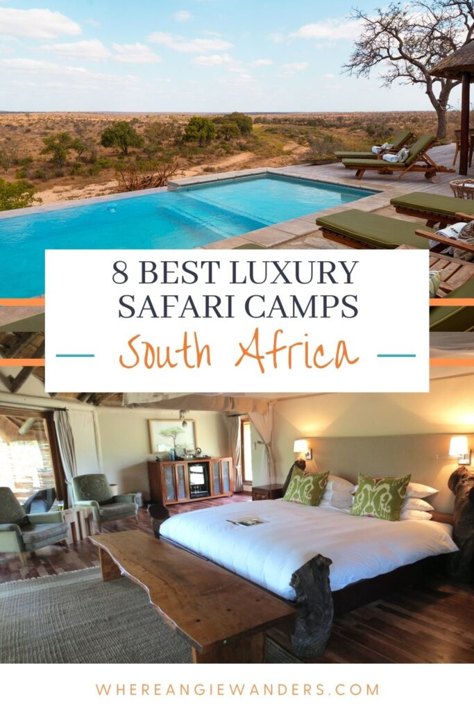 Pinterest Graphic of outside and indoor spaces in a luxury safari camp