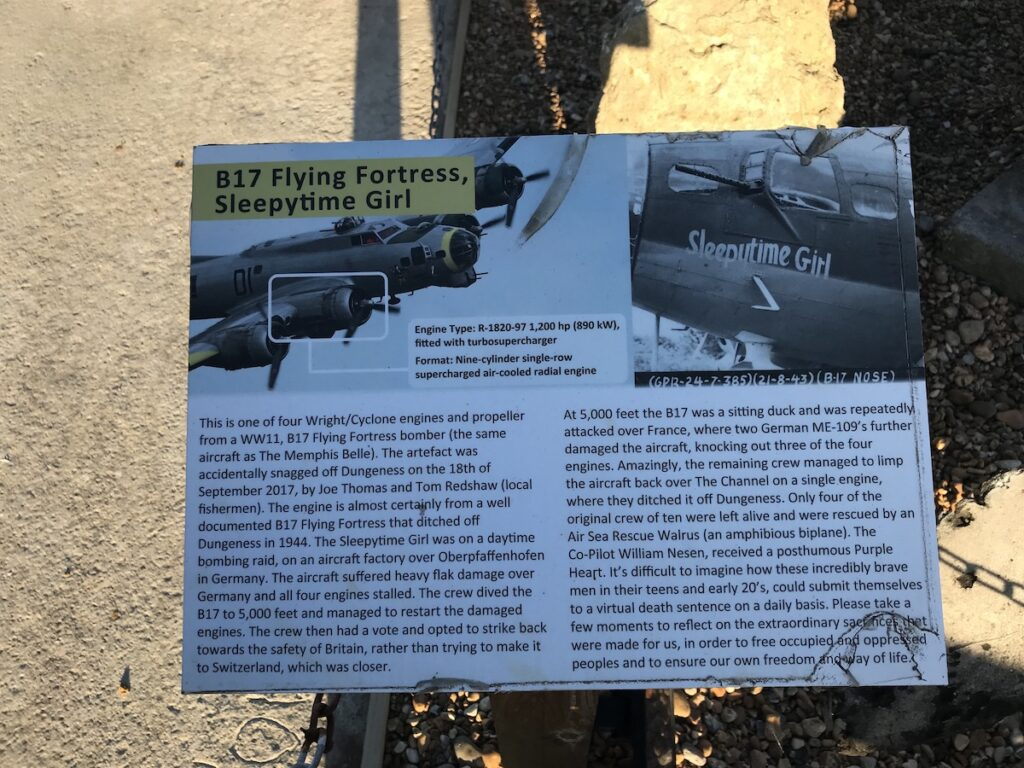Description on a notice board of the aircraft that was destroyed above Dungeness
