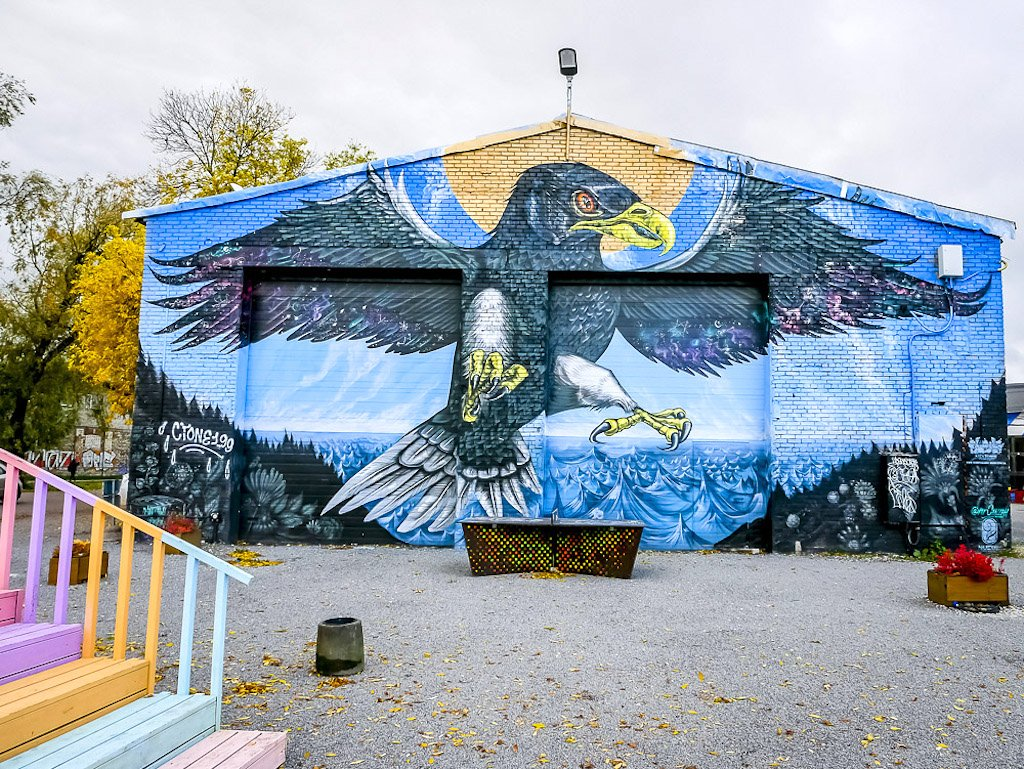 Street art in Tallinn depicting an eagle