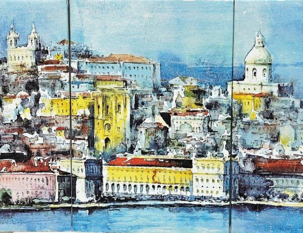 A painting of the waterside scene of Lisbon