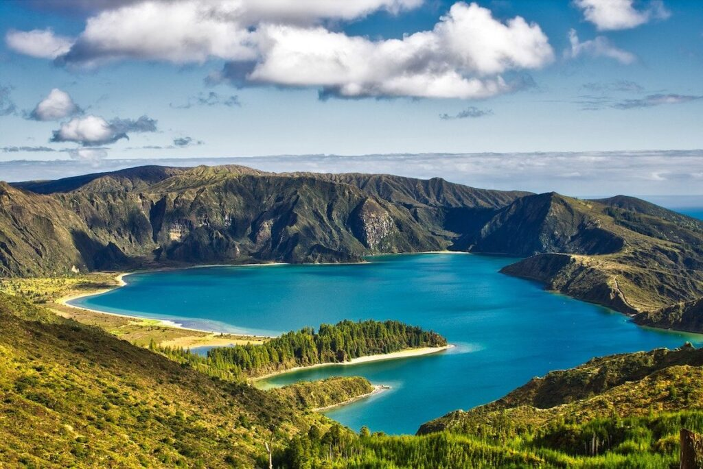 Blue lake crater Sao Miguel Island Portugal