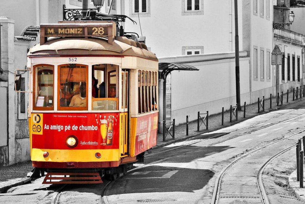 Red and Yellow tram in Lisbon Portugal