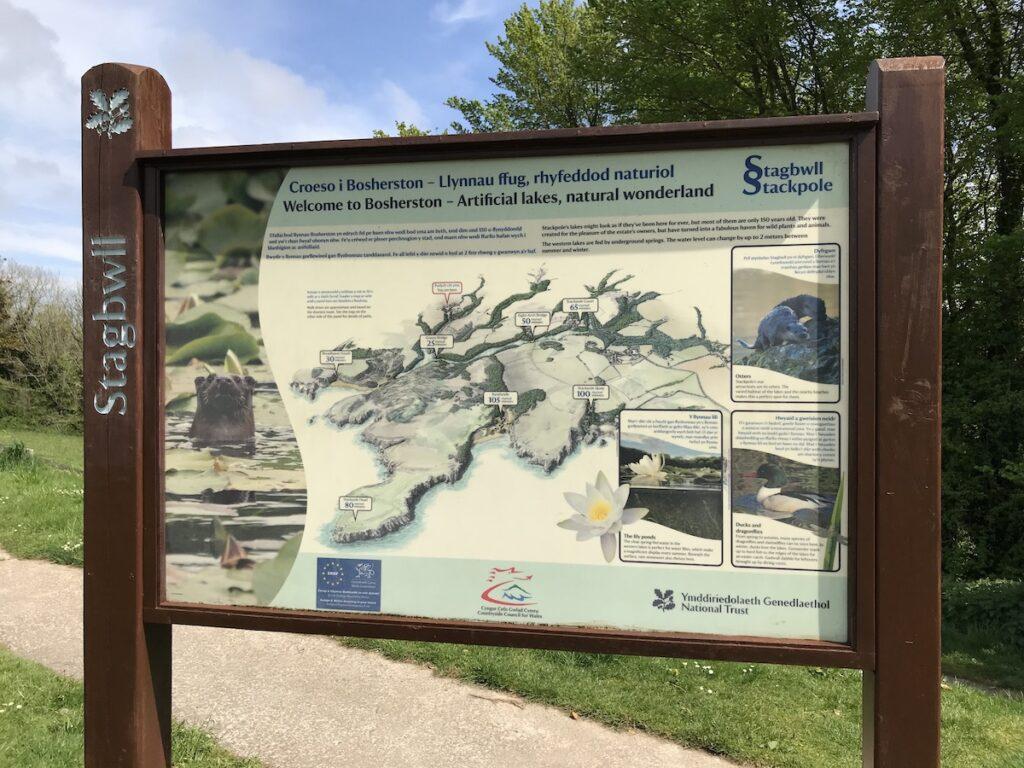 Information sign at the start of Bosherston Lily Ponds Walk