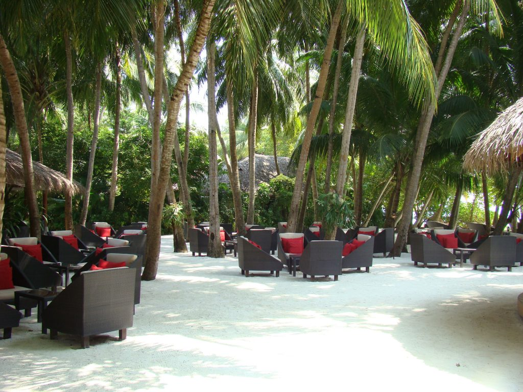Sand area with lounges