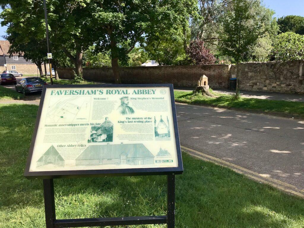 information board in Faversham giving details on Faversham Abbey