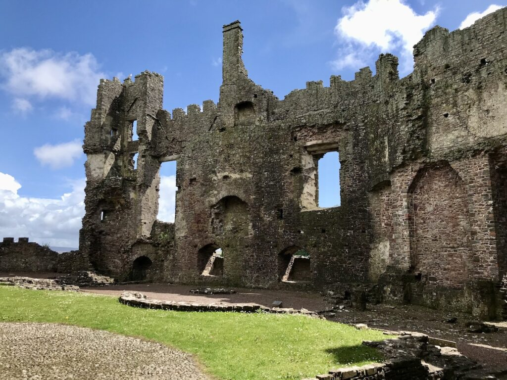 Inside view of Laugharne castle ruins