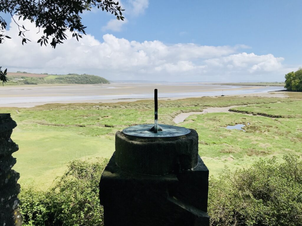 Laugharne Castle Sundial pointing out to beautiful views of the Taf Estuary