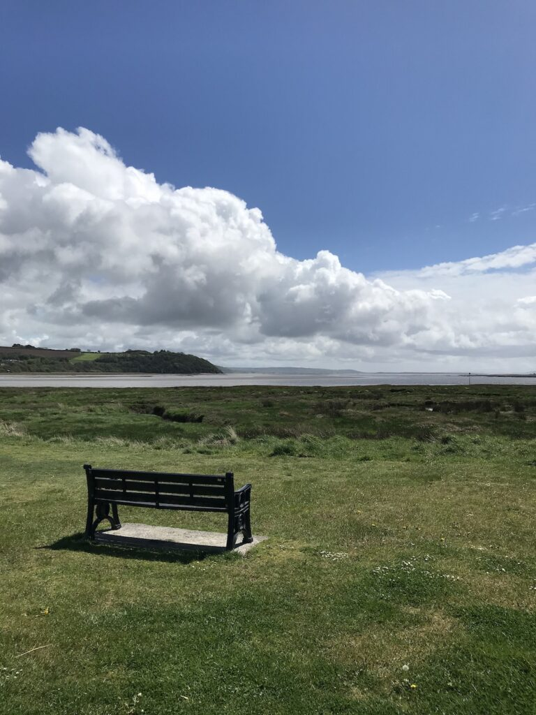 A bench looking out to the Taf Estuary in Laugharne