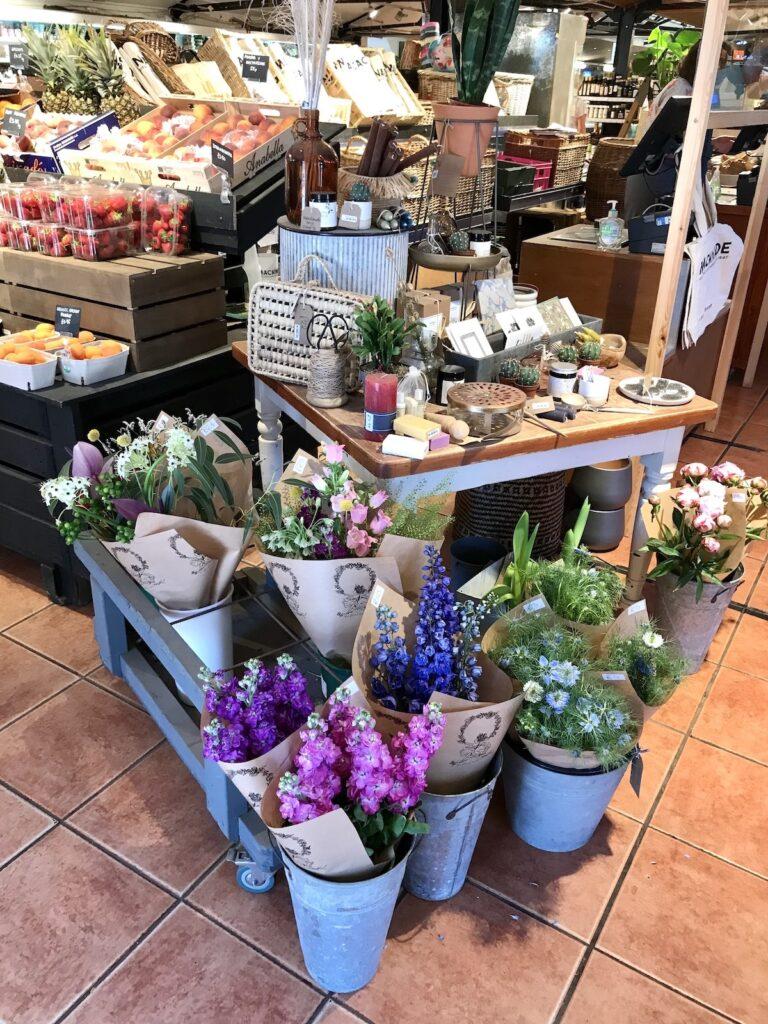 Fresh flowers and veg at Macknade