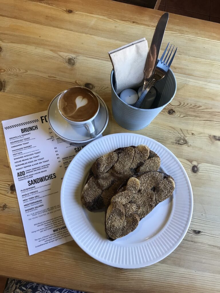 breakfast menu, cinnamon toast and coffee at Macknade's Faversham