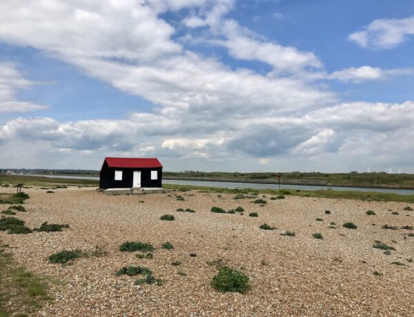 A black house with a red roof and white windows on the beach in Rye Harbour