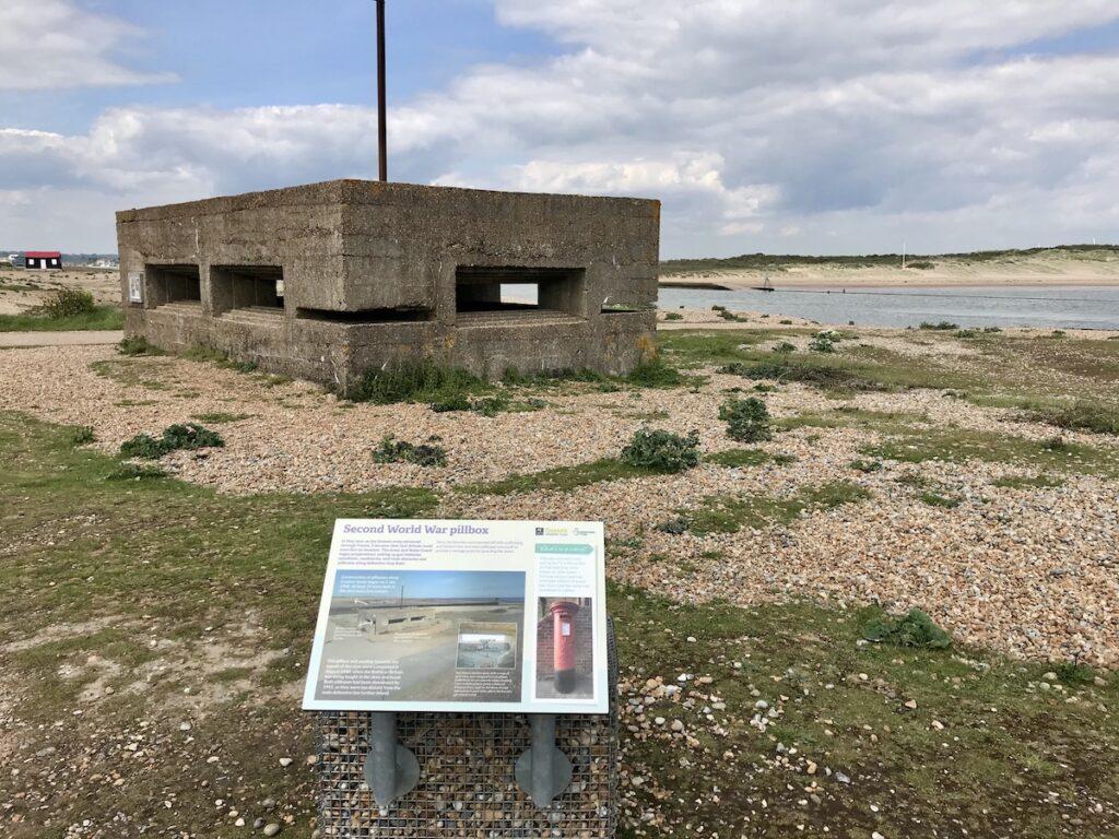 A concrete WW2 pillbox defence post